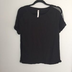 Fabletics Black Mesh Detail T Shirt